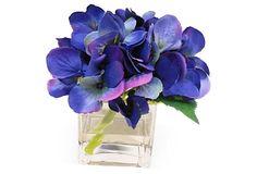 """6"""" Hydrangea in Cube Vase, Blue on OneKingsLane.com"""