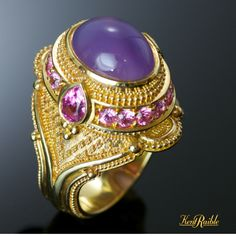 Agate and pink sapphire ring