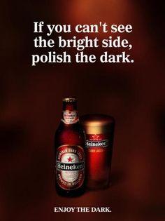 The Print Ad titled POLISH THE DARK was done by Y&R San Juan advertising agency for product: Heineken Dark Beer (brand: Heineken) in Puerto Rico. Dark Beer, Slot Online, Beer Bottle, The Darkest, Canning, Drinks, Polish, Art, Heineken