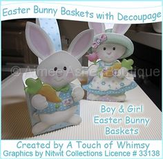 Easter Bunny Baskets/Boxes with Decoupage :: Boxes :: Printable Crafts :: Aimee Asher Boutique