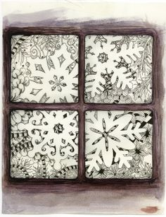 This Zentangle-inspired snowflake window is by my good friend and fellow Certified Zentangle Teacher, Toni Henneman