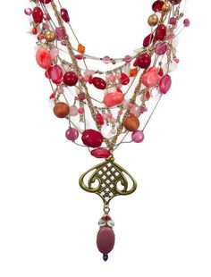 Pink & Raspberry Boho Necklace  Vintage by InVintageHeaven on Etsy, $65.00