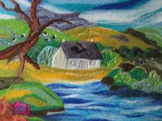 felt art landscape house by the lake Welsh by SueForeyfibreart, £75.00