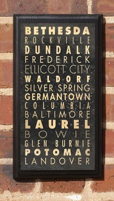 Cities of Maryland Subway Scroll Vintage Style Wall Plaque / Sign