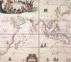 Kaart met de gewesten van de VOC Nieuwe Groote Lichtende Zee-fackel V, Amsterdam 1689.