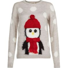 Grey Penguin Christmas Jumper ($12) ❤ liked on Polyvore featuring tops, sweaters, shirts, christmas, christmas jumper, round top, longsleeve shirt, christmas shirts and grey long sleeve shirt
