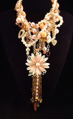 Vintage Daisy Assemblage Bib Necklace  by InVintageHeaven on Etsy, $125.00