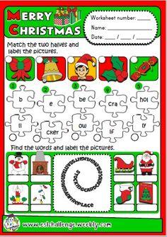 CHRISTMAS WORKSHEET (http://eslchallenge.weebly.com/christmas-fun-time.html
