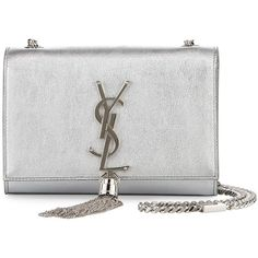 Saint Laurent Monogram Metallic Leather Crossbody Bag (3,740 BAM) ❤ liked on Polyvore featuring bags, handbags, clutches, ysl, silver, crossbody purse, metallic purse, metallic handbags, monogrammed leather purse and leather cross body purse