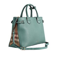dbd2adc113a4 Tote Bag Handbag Authentic Burberry Medium Banner in Leather and House Check  Smokeygreen Item 39826291.