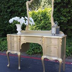 Champagne Metallic Paint by Modern Masters on Vanity | Project by Loft 2 Paint