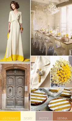 Love this unique look... Colours...goldenrod yellow, ivory, putty gray and sienna brown
