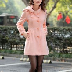 LADIES SINGLE BREASTED WOOL COAT PINK COATS #clothes #gifts anna7891…