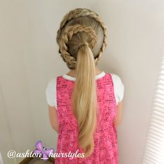 4 strand spiral braid into a ponytail.  Love!!!