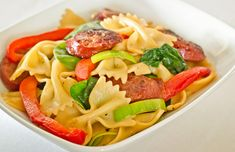 Bow Tie Pasta with Spinach, Peppers, and Sausage - Click for Recipe