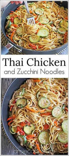 Thai Chicken and Zucchini Noodles from Jamie Cooks It Up!