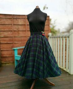 Circle skirt/50s skirt/tartan skirt/plaid skirt/midi skirt/