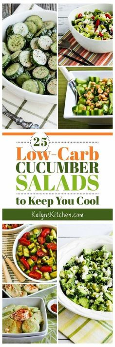 25 Low-Carb Cucumber Salads to Keep You Cool has enough tasty salad ideas with cucumbers that you can try new cucumber salads all summer long. All these low-carb salads are also gluten-free, low-glycemic, and South Beach Diet friendly, and most are also K Low Carb Soup Recipes, Veggie Recipes, Diet Recipes, Vegetarian Recipes, Cooking Recipes, Healthy Recipes, Apple Recipes, Lunch Recipes, Recipies