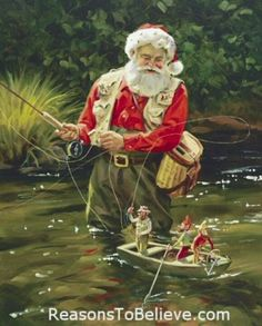 Santa fly fishing with mini elves:  Tom Brown