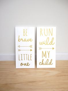 Woodland Nursery, Be Brave Little One and Run Wild My Child SET OF 2 SIGNS, Sign Decor, Playroom Sign, Tribal Nursery