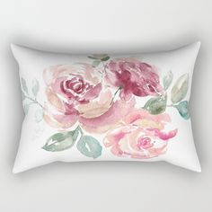 """Our Rectangular Pillow is the ultimate decorative accent to any room. Made from 100% spun polyester poplin fabric, these """"lumbar"""" pillows feature a double-sided print and are finished with a concealed zipper for an ideal contemporary look. #rosepillow #floralpillow #flowerprint #gardenrose #roses"""