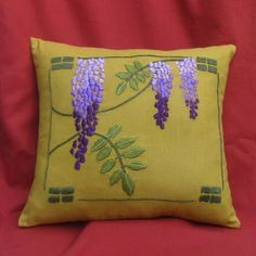 Wisteria Pillow Hand Embroidery