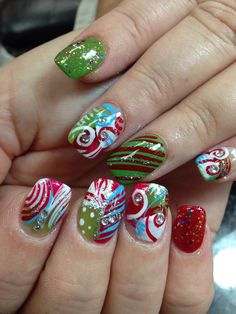 "I was told that this looks like some nail design that would be done in ""Whoville"" off of the Grinch movie lol."
