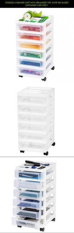 Storage 6-Drawer Cart with Organizer Top, White Bin Basket Container Cart Shelf  #fpv #drone #technology #products #tech #kit #shopping #camera #gadgets #storage #parts #racing #baskets #plans