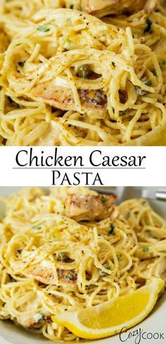 This One Pot Chicken Caesar Pasta recipe is so easy to make! Angel hair pasta and blackened chicken are tossed in a creamy Parmesan sauce with a hint of Caesar dressing, lemons, and capers. Easy Chicken Dinner Recipes, Chicken Pasta Recipes, Easy Pasta Recipes, Pasta In A Pot Recipe, Pasta With Chicken, Blackened Chicken Pasta, Pasta Food, Pastas Recipes, Cooking Recipes