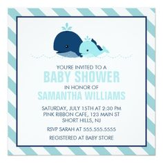 Mom And Baby Whale Baby Shower Invitation