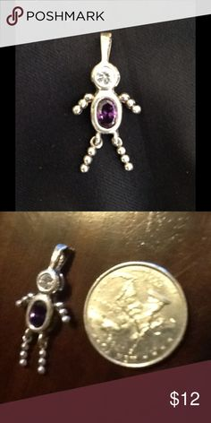 Sterling Silver Amethyst  Boy Charm I have another one on here I think it is the little girl also a amethyst. These were popular little birthstone charms back in the 80's. It is Sterling marked .925 Jewelry Necklaces