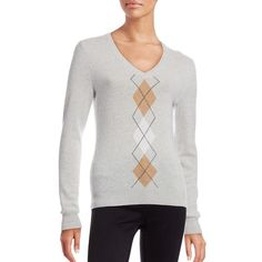 Lord & Taylor Argyle Cashmere Sweater ($110) ❤ liked on Polyvore featuring tops, sweaters, light grey heather, long sleeve tops, v-neck sweater, cashmere tops, cashmere sweater and long sleeve v neck sweater