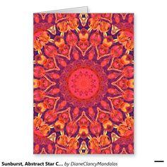 Sunburst, Abstract Star Circle Dance Greeting Card mandala  Zazzle #sold #DianeClancy