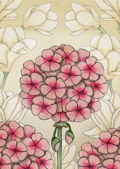magnolias and geraniums hand drawn printable floral wall art