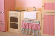 Vintage Inspired Play Kitchen – Without Borders.    My inspiration but in different colors.  Also want a counter area for workspace with some little shelves underneath.