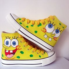 37870afa4c2c New Men Women Spongebob Design Shoes Sneaker Couple Flat Shoes High Top  Anime Spongebob Boys Girls Graffiti (Read Description before order)