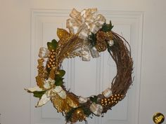 Gold and white Christmas wreath. Very elegant.