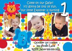 Safari Friends 1st Birthday Boy invite