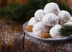 [ Traditional Christmas Cookies With Almonds On Dark Wooden Background Italian Wedding Cookies, Traditional Christmas Cookies, Russian Tea Cake, Greek Sweets, Mantecaditos, Greek Cooking, Christmas Sweets, Greek Recipes, Confectionery
