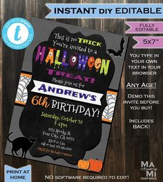 Halloween Birthday Party Invitation - Any Age - Kids Party Invite Costume Party - Bats Cats Printabl Halloween Birthday Party Invitations, Halloween Party Invitations, Halloween Gender Reveal, Baby Halloween, Halloween Ideas, Halloween Costumes, Gender Reveal Invitations, Baby Shower Invitations, Chalkboard Template