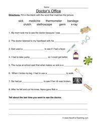 Doctor's Office Worksheet - Fill in the Blanks