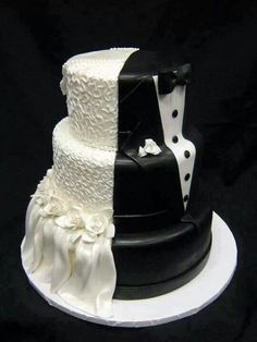 Black and White Wedding Cake Inspiration. Creative Wedding Cakes, Beautiful Wedding Cakes, Wedding Cake Designs, Creative Cakes, Beautiful Cakes, Amazing Cakes, Cake Wedding, Wedding Reception, Dream Wedding