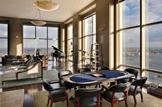 It's the ultimate New York bachelor pad. Here's a never-before-seen look inside Derek Jeter's swinging penthouse atop Trump World Tower. Living Room Lounge, Condo Living, South Shore Decorating, Penthouse Apartment, Ceiling Windows, Beautiful Living Rooms, Pent House, Dream Rooms, Interior Design