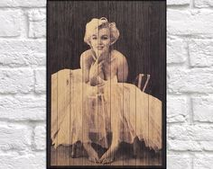 WOOD PHOTOGRAPH print Wood wall art Hollywood Icon Marilyn Monroe photo on wood Rustic wood print Marilyn Monroe panel effect wood art print by Woodprintz on Etsy