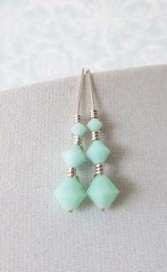 Sterling Silver Swarovski Mint Beads Earrings