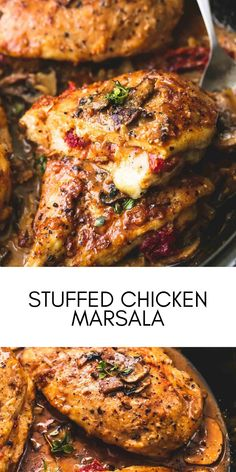Seasoned and Stuffed Chicken Marsala with mozzarella, parmesan, and sun dried tomatoes, smothered in savory marsala mushroom sauce! #easyrecipes #dinner #chickenrecipes #food #cooking #chicken #easy #recipes Easy Chicken Recipes, Easy Recipes, Easy Meals, Marsala Mushrooms, Chicken Marsala, Mushroom Sauce, Stuffed Chicken, Dried Tomatoes, Sun Dried