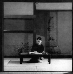 """Yasunari Kawabata (June 14, 1899 - 1972) was a Japanese short story writer and novelist whose spare, lyrical, subtly-shaded prose works won him the Nobel Prize for Literature in 1968 (""""for his narrative mastery, which with great sensibility expresses the essence of the Japanese mind""""), the first Japanese author to receive the award.        Photo of Kawabata, c. 1946 - at work at his house in Nagatani of Kamakura."""