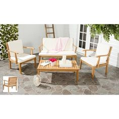 Safavieh Outdoor Living Fresno Brown Acacia Wood 4-piece Beige Cushion Patio Set