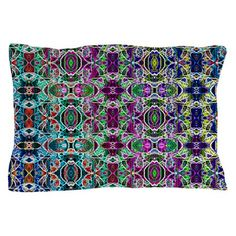 Rainbow Fractal Art Pillow Case on CafePress.com