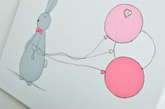 Mr. Bunny in pink Hand painted Canvas pink por ShenasiConcept